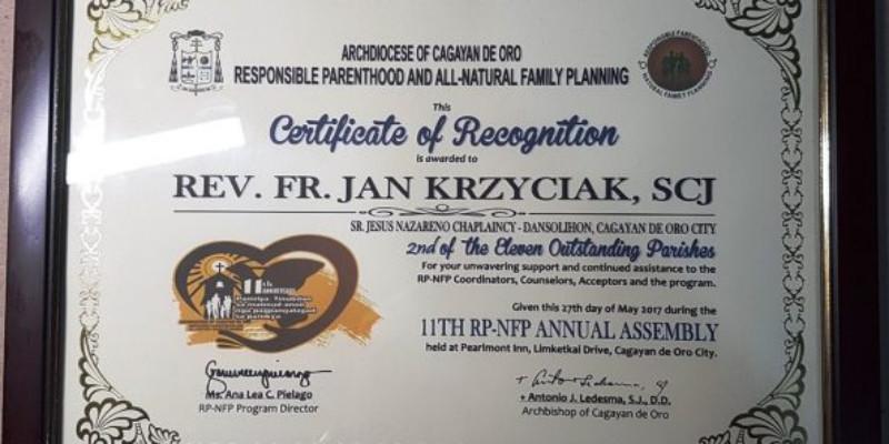 Certyfikat dla ks. Krzyściaka